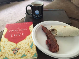 Brunch, book and peppermint mocha