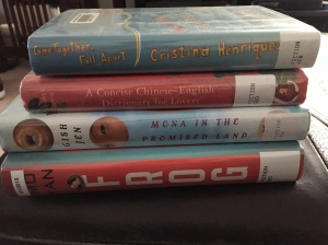 Come Together Fall Apart by Cristina Henriquez, A Concise Chinese-English Dictionary for Lovers by Xiaolu Guo, Mona in the Promised Land by Gish Jen, and Frog by Mo Yan